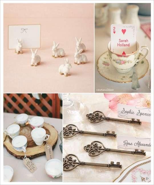decoration mariage alice au pays des merveilles marque place tasse clé lapin blanc jeu de carte