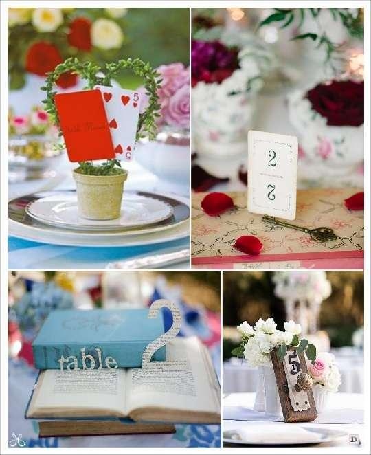 decoration mariage alice au pays des merveilles numéros de table carte à jouer  livre clé poignée de porte