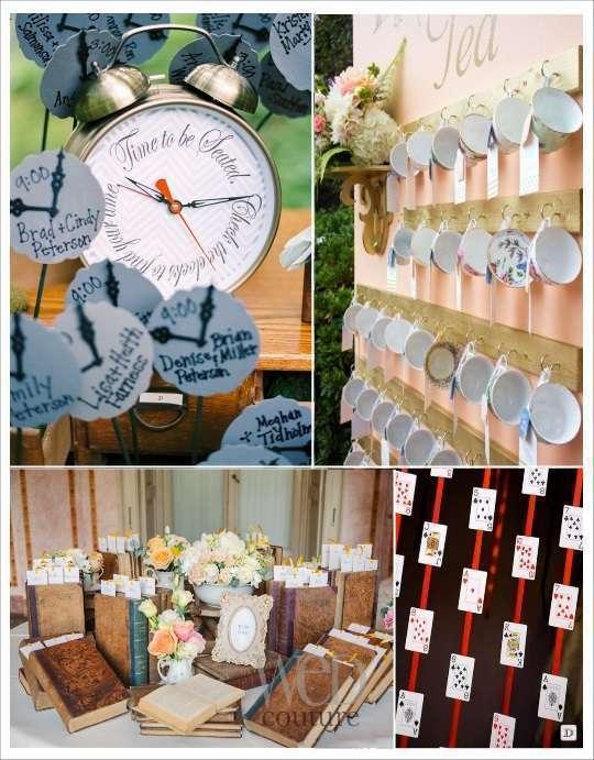 decoration mariage alice au pays des merveilles plan de table escort cards horloge tasse