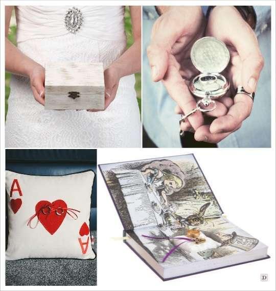 decoration mariage alice au pays des merveilles porte alliances coffret en bois livre montre à gousset