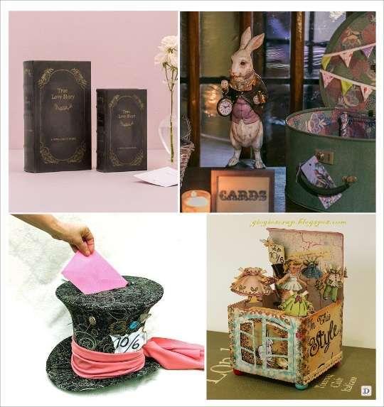 decoration mariage alice au pays des merveilles urne de mariage livre boite à chapeau maison du lapin