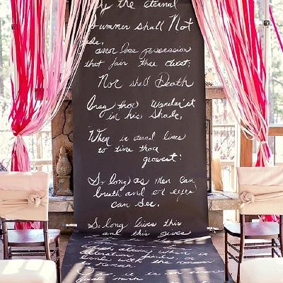 tapis mariage ardoise pour ceremonie