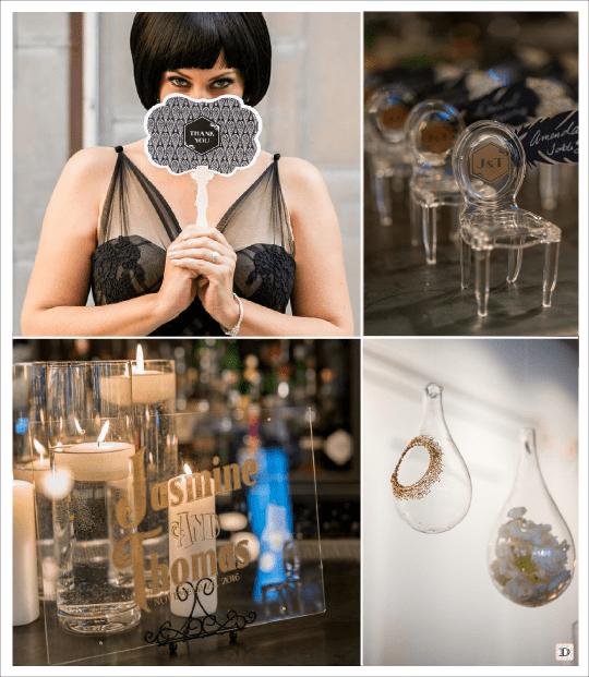 mariage art deco charleston eventail personnalise chaise miniature marque place escort card panacrte plexiglas boule en verre suspendue