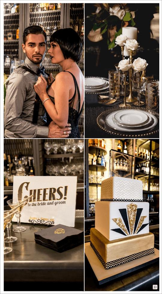 mariage art deco charleston decoration table buffet piece montee