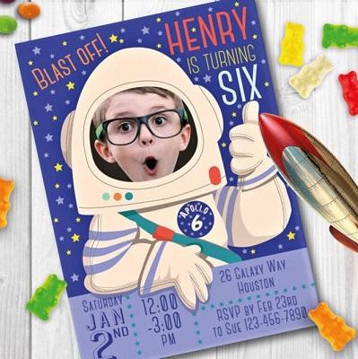 carton invitation thene astronaute anniversaire photo
