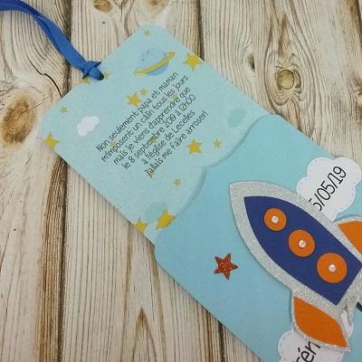 carte invitation anniversaire astronaute pop up
