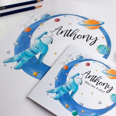 carte invitation anniversaire astronaute espace