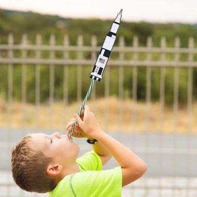 jeu anniversaire tir fusée paille theme astronaute