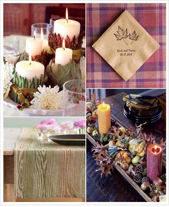 mariage automne decoration table bougie feuilles raison chemin de table bois serviette