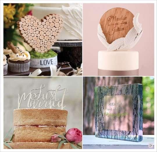 mariage automne figurine de gateau en bois disque persnnalisé rondin