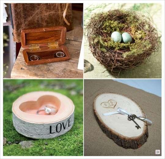 mariage automne porte alliances ecrin en bois rondin nid