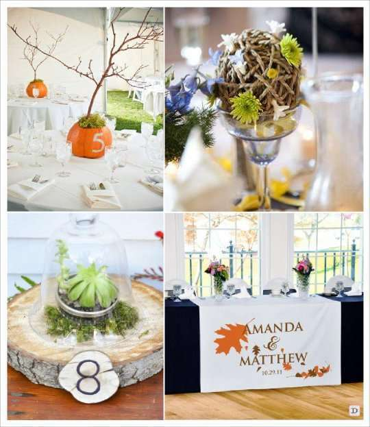 Mariage automne centre de table for Decoration de table porte photo