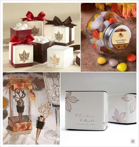 mariage automne cadeaux invités boite dragees feuille bocal bonbons bouchon stopper