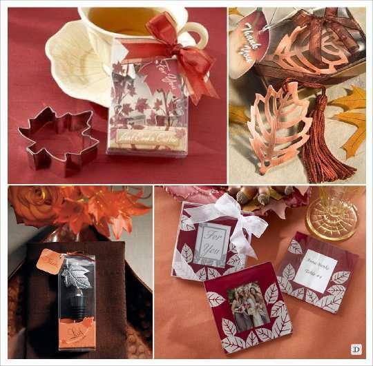 mariage automne cadeaux invités cadre emporte pièce feuille marque page bouchon stopper