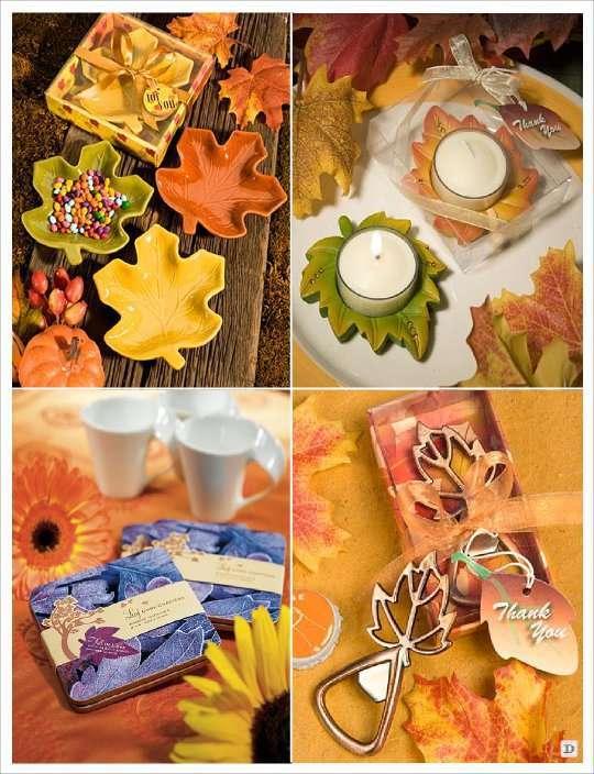 mariage automne cadeaux invités bougeoir feuille plat feuille décapsuleur dessous verre