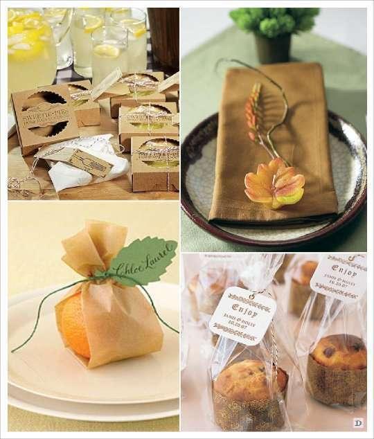 mariage automne cadeaux invités pochon orange tartelette, muffin bougie feuille