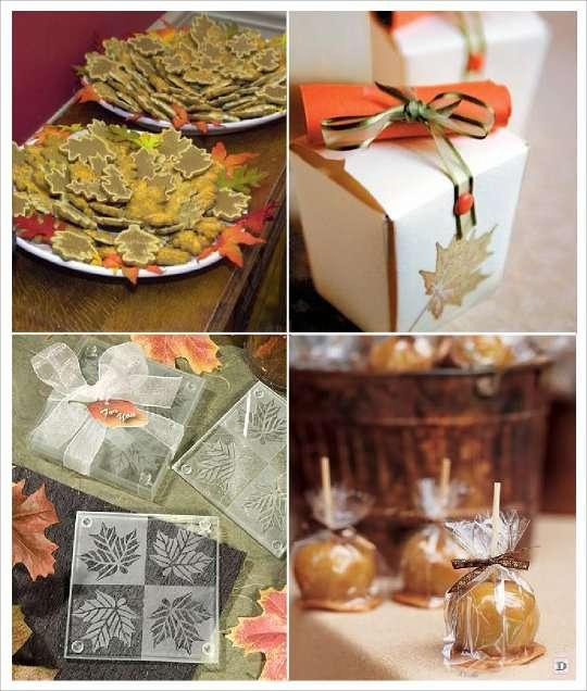 mariage automne cadeaux invités gateau feuille dessous verre pomme d'amour, boite dragees