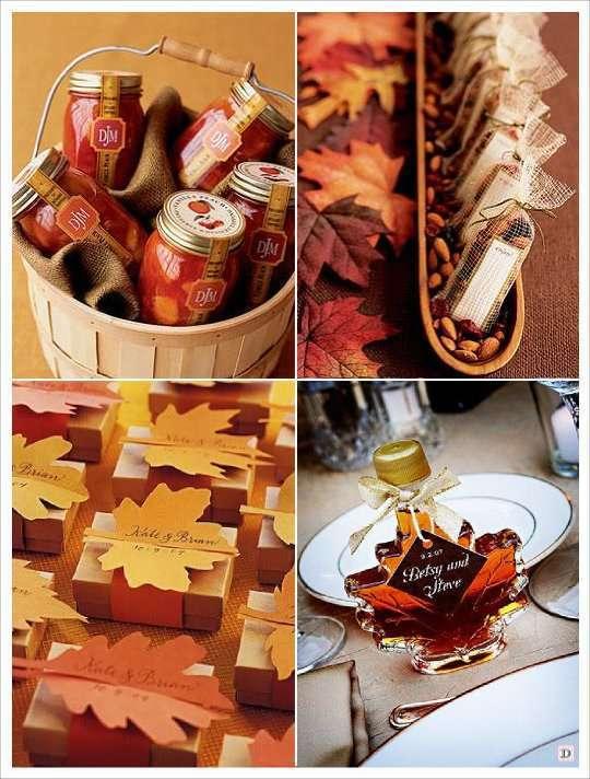 mariage automne cadeaux invités savon pot confiture noix noisette, sirop d'érable boite dragees feuille