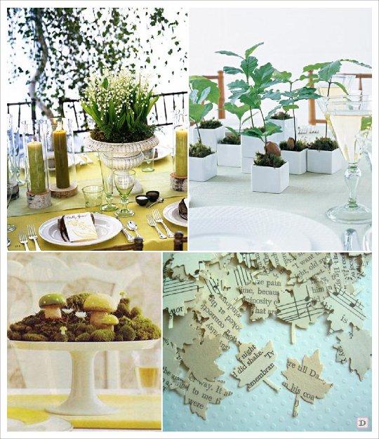 mariage automne centre table champignon arbuste chene rondin