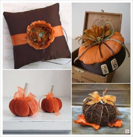 mariage automne décoration coussin alliances