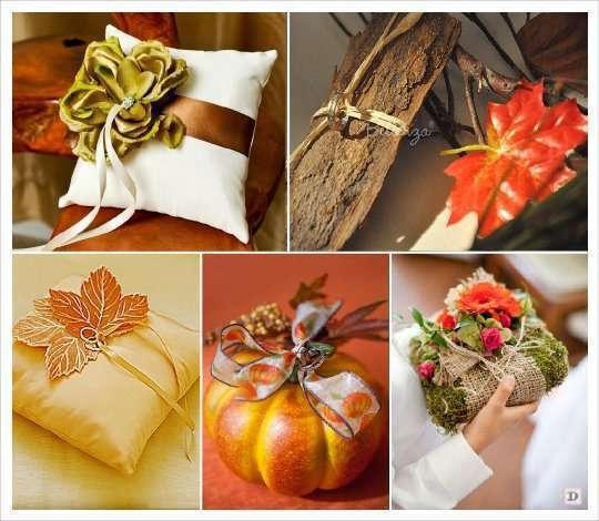 mariage automne décoration coussin alliances écorce bois citrouille