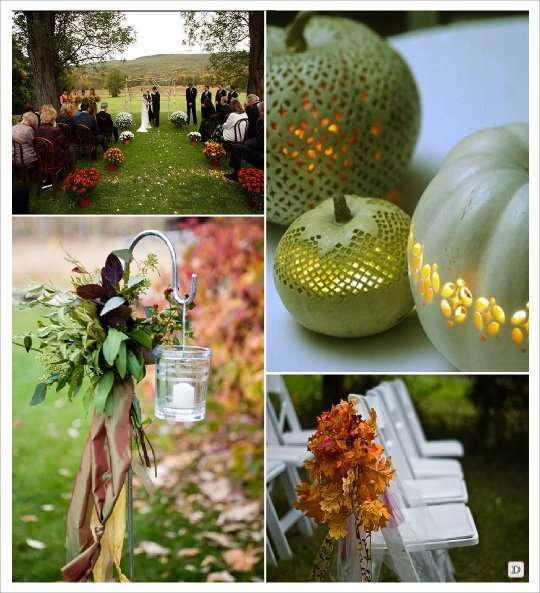 decoration salle mariage automne decoration chaise église feuille photophore suspendu