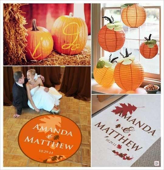 decoration salle mariage automne citrouille initiale, tapis personnalise, sticker sol,decoration plafond lampion