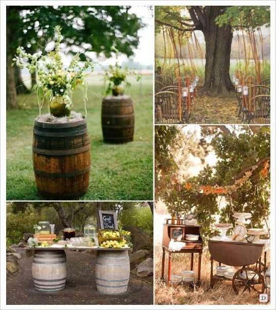 decoration salle mariage automne tonneau barrique ruban arbre