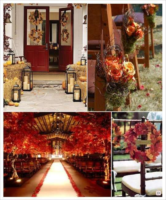 decoration salle mariage automne tapis arbre allée botte de paille