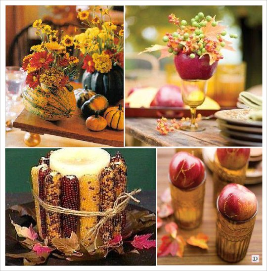 decoration de table automne epis de mais pomme de pin citrouille