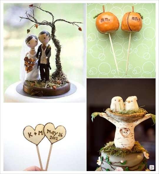 decoration mariage automne figurine gateau oiseaux figurine bois coeur