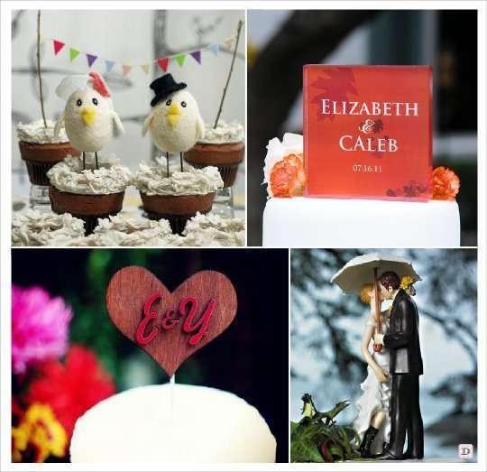 decoration mariage automne figurine gateau oiseaux plexiglas grave coeur en bois parapluie