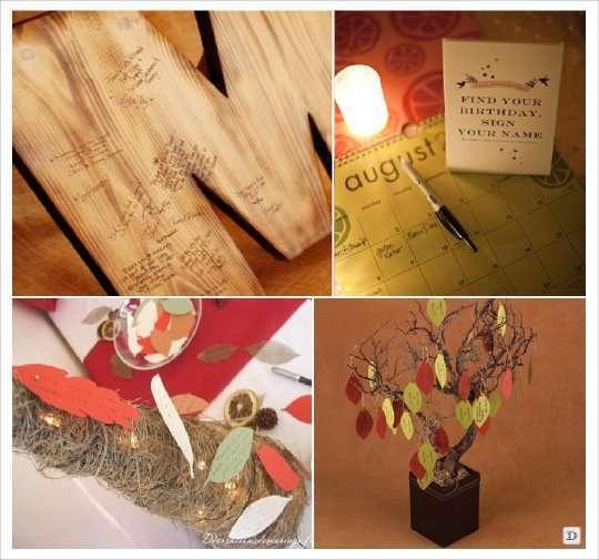 livre d'or automne lettre bois calendrier cone arbre voeux