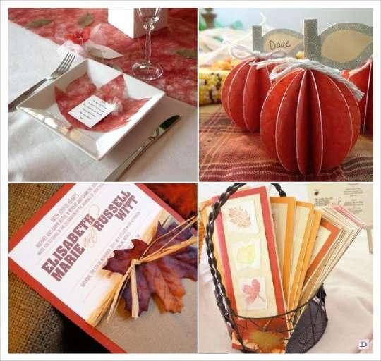 mariage automne menu feuille intissé tissu, citrouille scrapbooking, éventail