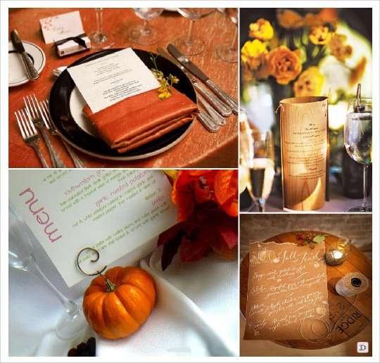 mariage automne menu serviette photophore citrouille porte carte