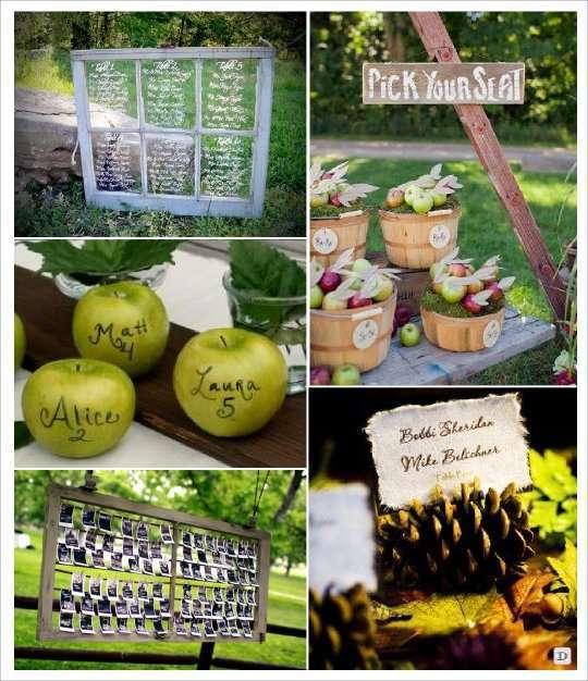 plan de table mariage automne fenetre pomme panier photos porte de pin escort card