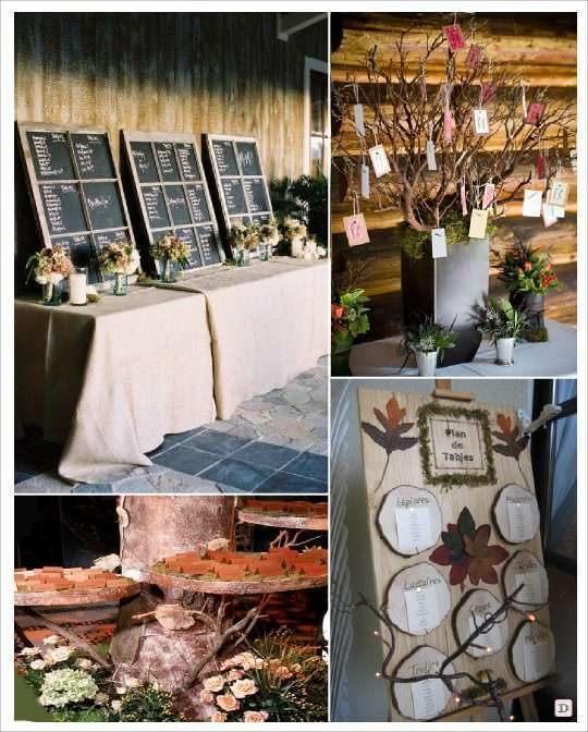 mariage automne plan de table ardoise arbre