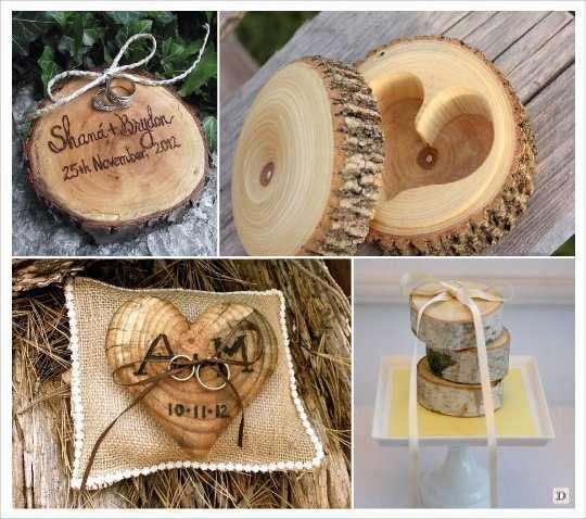 mariage automne décoration porte alliances bois rondin