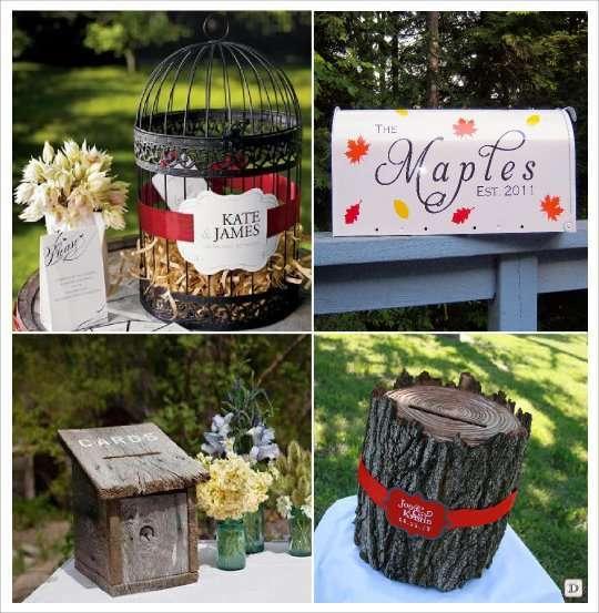 mariage automne urne cage oiseaux boite lettre tronc arbre nichoir