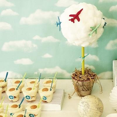 arbre en coton candy bar anniversaire avion