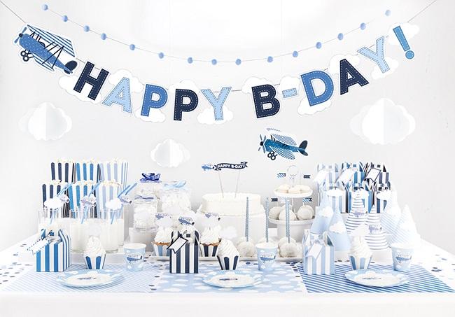 candy bar theme aviateur bleu et blanc