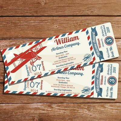 carton invitation anniversaire billet avion