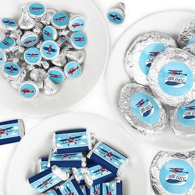 stickers personnalises pour bonbons theme anniversaire avion