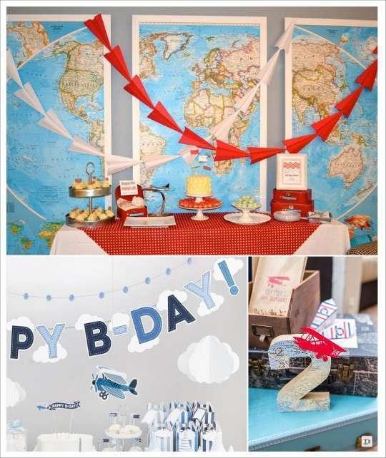 deco anniversaire avion candy bar mappemonde banderole avion