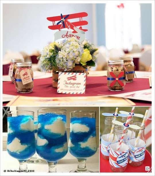 decoration anniversaire avion pot décoré d'hélice bouteille candy bar dessert ciel nuageux