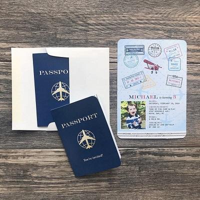 carton invitation anniversaire passeport avion voyage
