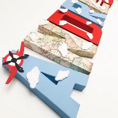 decoration aniversaire avion lettre papier mache
