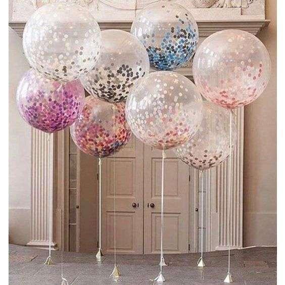 décoration salle ballon confettis geants