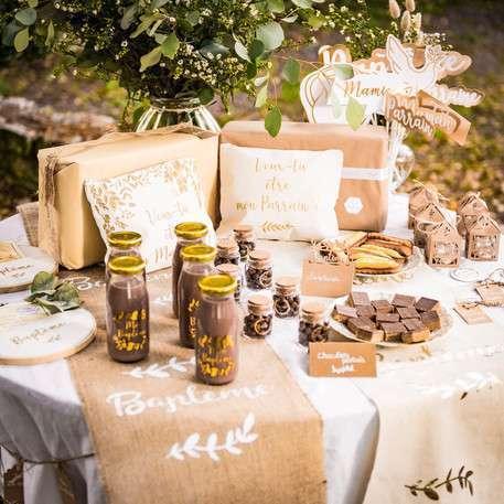 decoration bapteme champetre or bouteille verre cadeau invite