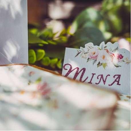 marque place bapteme champetre fille fleur rose